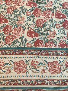 Anokhi Rose Floral Block Print Cotton Tablecloth 90x108 Hand Print Pink