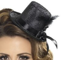 Ladies Mini Top Hat with Ribbon & Feather Black Hen Party Hat New by Smiffys