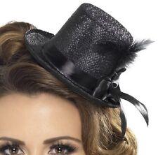 Donna Mini Cappello con Nastro & Piuma Nero Addio Al Nubilato Nuovo da Smiffys