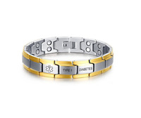 Medical Alert ID Magnetic Bracelets Therapy Adjustable Bangles Stainless Steel