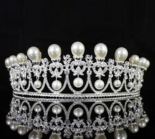 Pearls Drop Austrian Crystal Rhinestone Tiara Crown Bridal Prom Wed Silver T63