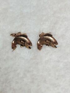 Hickok Bass Fish Cufflinks Copper Tone Fishing USA Pair Vintage