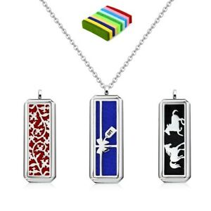 50mm Stainless Steel Rectangle Shape Necklace Pendant Aroma Diffuser Locket