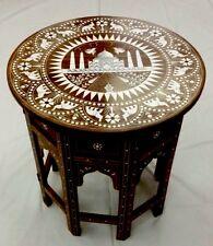 Hecho A Mano De Palo De Rosa India LUCKY ELEFANTE, Taj Mahal (símbolo de amor) con incrustaciones de Mesa