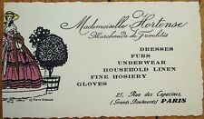 Paris, France 1930 Fur/Clothing/Underwear Advertising Card-Mademoiselle Hortense
