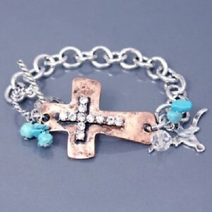 Western Cowgirl Silver Tone Copper Cross Turquoise Beads Toggle Charm Bracelet