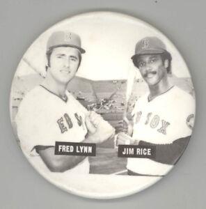 1970s BOSTON RED SOX Vintage PIN Button PINBACK Badge JIM RICE Fred Lynn FENWAY