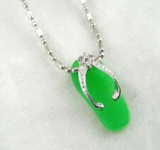 Women Lady Girl Pendant Chain Necklace Fashion Emerald Green Jade 18Kwgp Shoes