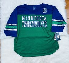 NBA Minnesota Timberwolves Mesh Sheer 3/4 Sleeve Jersey Shirt Women's 2XL