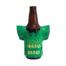 2 x ST PATRICKS DAY DRINK HOLDERS CAN BOTTLE IRISH CHEERS & BEERS SHAMROCK SHIRT