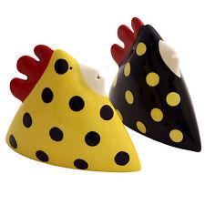 Betty and Alice Hen Chicken Salt & Pepper Shaker Pot Black Yellow Dot Spot New