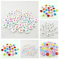 100PCS X 12MM MIXED ALPHABET LETTER HEART SHAPED ACRYLIC BEADS-TOP QUALITY