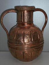 CRUCHE A EAU EN CUIVRE REPOUSSE.EGYPTE.MOYEN ORIENT.XVIII°-XIX°.Vase,plat,