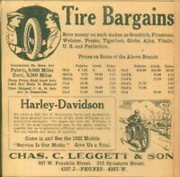 Advertising Newspaper Sales Ad Tire Bargains & Harley Davidson Motorcycles  1921