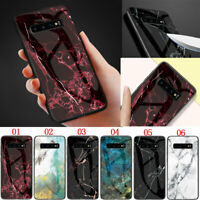 Marble Tempered Glass Back Case Cover For Samsung S7 S8 S9 S10 A10 A20 A30s A50s
