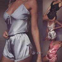 Summer Women Sexy Pajamas Lace Silk Pijamas Sleepwear Deep V Sling Lingerie