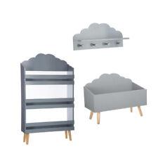 Coffre à jouets nuage gris+Bibliothèque nuage gris+Patère nuage gris Atmosphera