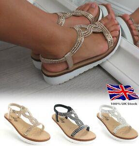 Ladies Womens Flat Low Wedge Platform Heel Diamante Summer Sandals Shoes Size