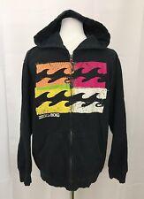 Billabong Hoodie Zipper Front Hooded Sweatshirt Black size Boys Large