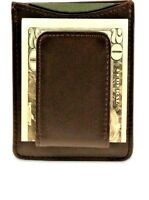 BROWN MAGNETIC Real Leather MONEY CLIP Credit Thin Wallet Flat Front Pocket New