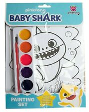 Kids Baby Shark Painting set Water colour Brush 8 Pictures Home Schooling Art UK
