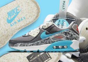 NIKE Women's Air Max 90 SE Rice Ball DD5483-010 Black/White-Beach-Chlorine Blue