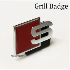 New S Grill Front Badge Emblem Decal Logo Sticker quattro red chrome line audi