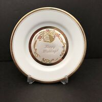 "Art Of Chokin Happy Wedding Engraved 8"" Ceramic Plate Gold Edged Made in Japan"