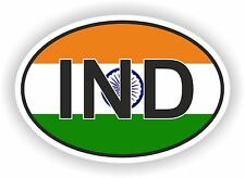 INDIA COUNTRY CODE OVAL WITH FLAG AND IND STICKER bumper decal car laptop door