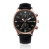 Fashion Men's Business Stainless Steel Leather Analog Quartz Sport Wrist Watch