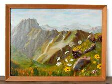 Original Vintage Mid Century Oil Painting Framed Alpine Scene Alps Swiss