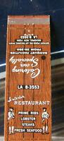 Vintage Matchbook Cover H6 Mahopac New York Interlake Restaurant Prime Ribs