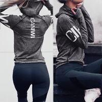 Women Sport Gym Workout Hoodie Quick Dry Yoga Long Sleeve Sweatshirt Tops S-XL