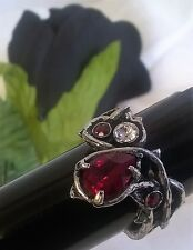 ALCHEMY RING - PASSION - UK SIZE Q - GOTHIC ROMANCE BLOOD RED CRYSTAL JEWELLERY