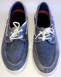 Levi's Boat Shoes Men's Size 9.5 (D) Blue Red And White Casual Sneakers Comfort
