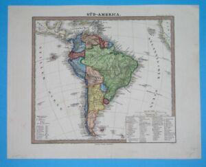 1873 ORIGINAL MAP SOUTH AMERICA ARGENTINA PERU BOLIVIA CHILE COLOMBIA PATAGONIA