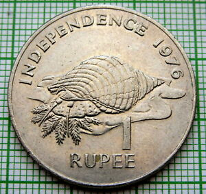 SEYCHELLES 1976 1 RUPEE, INDEPENDENCE, TRITON CONCH AUNC
