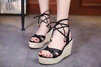 Women Jute-rope Middle Wedge Heel Summer Shoes Flip Sandals Lace Up Flip Flops