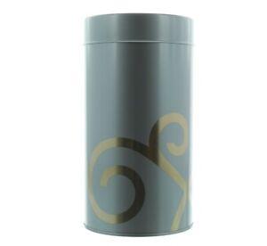 Teavana Airtight Tea Canister Gold Tin 16oz Loose Leaf Storage, Steel Grey New