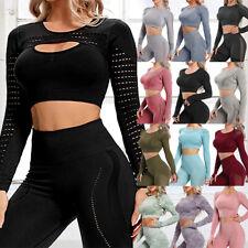 Yoga Fitness TOP Longsleeve Sport Leggings Set Trainingsanzug Langarmshirt Damen