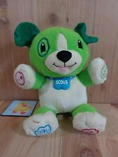 """LeapFrog MY PAL SCOUT 12"""" Plush Green Puppy Dog Interactive Talks Sings Learning"""