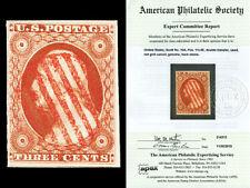 Scott 10A 1851 3c Washington Double Transfer Issue Used Red Grid Cxl w/APEX CERT