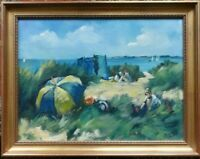 Oil painting of Sand Dunes Suffolk, Walberswick ? by Margaret Hewitt, signed