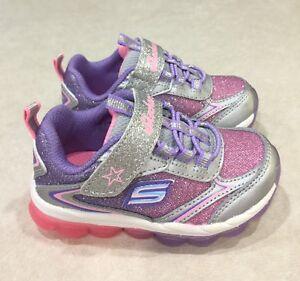 "SKECHERS ""Hi-Finish""Toddler Girl's Silver & Multi-Color Sneakers~~Size 5"