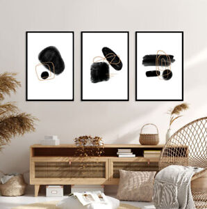 Set of 3 Prints A3 Poster Modern Bedroom Living Room Black Geometric Abstract