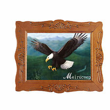 1/12 Retro Scale Miniature Print of Eagle with Wood Frame For Dollhouse Décor