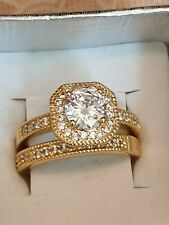 Fashion Jewellery gold plated ring set with stones size 8