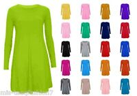 Womens Tartan Swing Skater Dress Long Sleeve Jersey Top UK 8-28