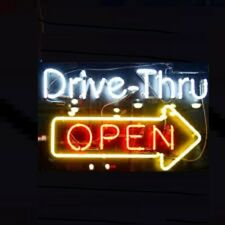 """New Drive Thru Open Arrow Right Neon Light Sign 24""""x20"""" Lamp Poster Real Glass"""