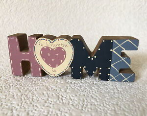 Vintage Wood Cut Out Letter HOME Shelf Decor Small Country Painted Figure